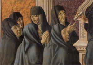 """Francesco Botticini,""""Santa Monica circondata dalle suore agostiniane"""" (1470; Firenze, Chiesa di S. Spirito, part.)"""