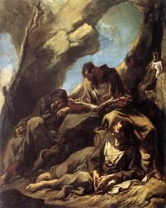 Alessandro Magnasco, «Tre frati cappuccini in meditazione nel loro eremo» (1713-14), 54,5x39, Amsterdam, Rijksmusuem